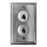 Calrad 70-536<br>Solid Oak Wall Plate 4 Wire Double Jack