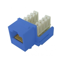 72-102-BU-E90 Calrad Keystone Jack, CAT5e RJ45 Connector UL 350 MHz Type 90 degree - Blue