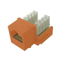 72-102-OR-E90 Calrad Keystone Jack, CAT5e RJ45 Connector UL 350 MHz Type 90 degree - Orange