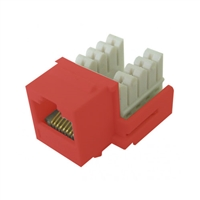 72-102-RD-E90 Calrad Keystone Jack, CAT5e RJ45 Connector UL 350 MHz Type 90 degree - Red