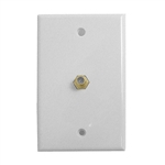 "White TV Wall Plate w/ Gold ""F"" Connector"
