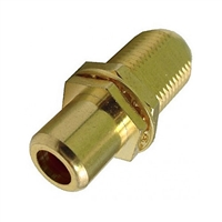 "75-635AG-BK Calrad Electronics ""F"" Female to RCA Female Feed-Thru Hex Style with Black Insert Audio Video Adapter, Gold Plated"