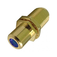 "75-635AG-BU Calrad Electronics ""F"" Female to RCA Female Feed-Thru Hex Style with Blue Insert Audio Video Adapter, Gold Plated"