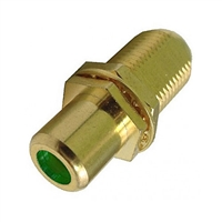 "75-635AG-GN Calrad Electronics ""F"" Female to RCA Female Feed-Thru Hex Style with Green Insert Audio Video Adapter, Gold Plated"