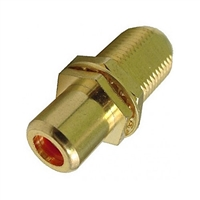 "75-635AG-RD Calrad Electronics ""F"" Female to RCA Female Feed-Thru Hex Style with Red Insert Audio Video Adapter, Gold Plated"