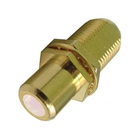 "75-635AG-WH Calrad Electronics ""F"" Female to RCA Female Feed-Thru Hex Style with White Insert Audio Video Adapter, Gold Plated"