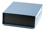 "Hammond 1458C3<br>Metal Instrument Enclosure<br><b>6.0""W v 6.0""D x 3.0""H</b> - Solid Top & Bottom - Satin Black"