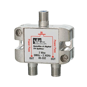 85-332 Ideal Industries<br>5 MHz to- 2.3 GHz 2-Way Satellite Digital Cable Splitter
