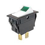 NTE Rocker, Lighted, Green, SPST, 15A, 125VAC Switch ON NONE OFF - White Actuator 54-029