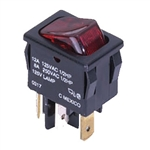 NTE Rocker, Lighted, Red, SPST, 12A, 125VAC Switch ON NONE OFF 54-080