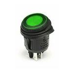 NTE Rocker Switch Waterproof Illuminated Round DPST 16A ON-NONE-OFF Green 12V LED Lamp 54-210W