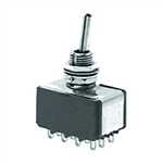 NTE Toggle Switch - 4PDT - 6A 125VAC - ON NONE ON - Epoxy Sealed Solder Terminals 54-312