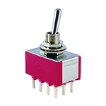 NTE Toggle Switch - 4PDT - 5A 120VAC - ON-NONE-ON - Epoxy Sealed PC Mount Terminals 54-312PC