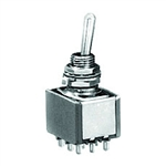 NTE Toggle Switch - 3PDT - 6A 125VAC - ON OFF ON - Epoxy Sealed Solder Terminals 54-324