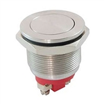 NTE Pushbutton - Economy Anti Vandal, Single Pole SPST−NO OFF (ON) Stainless Steel, Flat 54-375E