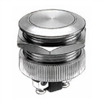 NTE Pushbutton, Anti-Vandal, 19mm, SPST-NO, 2A, 48VDC, Flat Switch OFF (ON) 54-377