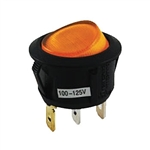 NTE Rocker, Round Hole, Lighted, SPST, 16A, 125VAC, Yellow Lens Switch ON NONE OFF 54-525