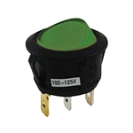 NTE Rocker, Round Hole, Lighted, SPST, 16A, 125VAC, Green Lens Switch ON NONE OFF 54-526