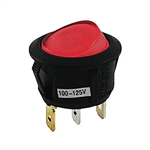 NTE Rocker, Round Hole, Lighted, SPST, 16A, 125VAC, Red Lens Switch ON NONE OFF 54-527