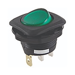 NTE 54-550 Rocker Switch, Round Hole, Lighted, SPST, 16A, 125VAC, Green Lens ON NONE OFF