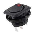 NTE Rocker, Round Hole, Lighted, SPST, 16A, 125VAC, Red LED Switch ON NONE OFF 54-551