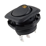 NTE Rocker, Round Hole, Lighted, SPST, 16A, 125VAC, Yellow LED Switch ON NONE OFF 54-552