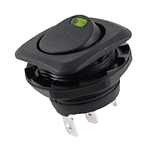 NTE Rocker, Round Hole, Lighted, SPST, 16A, 125VAC, Green LED Switch ON NONE OFF 54-553