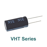 NTE VHT100M25 Electrolytic Capacitor, High Temperature 100mfd 25V Radial Leads