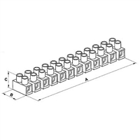 Philmore 13-1208 Euro Style Barrier Strip - Clamping Area 2.5mm²