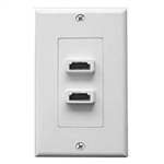 Philmore 75-1059 Wall Plate, Dual HDMI Feed Thru Jack, Designer Style, White