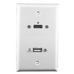 Philmore 75-621 Wall Plate, HDMI + USB White
