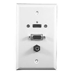 Philmore 75-629 Wall Plate, HDMI + VGA + 3.5mm Stereo Jack White
