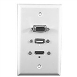 Philmore 75-639 Wall Plate, HDMI + USB + VGA White