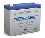 Powersonic PS-4100F1 SLA Battery 4v 10ah Rechargeable Sealed Lead Acid