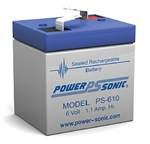 Powersonic PS-610F1 SLA Battery 6v 1.1ah Rechargeable Sealed Lead Acid