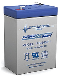 Powersonic PS-640F1 SLA Battery 6v 4.5ah Rechargeable Sealed Lead Acid