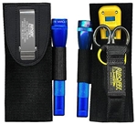 Ripoffs CO-47FL 3 Pocket Combo Holster for Leatherman Juice, Strippers w/Flashlight - Clip-On Version