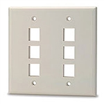 Signamax DKF-6-WH Keystone Faceplate, 6-Port Double-Gang White