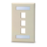 Signamax SGFK-3 Keystone Faceplate 3-Ports Single Gang - Light Ivory