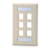 Signamax SGFK-6 Keystone Faceplate 6-Ports Single Gang - Light Ivory