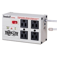 Tripp-Lite ISOTEL 4 ULTRA - 4-outlet, 6-ft cord, 3330 joules, Modem/fax protection, All metal housing Isobar Surge Suppressor - Premium surge, spike and line noise protection