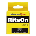 "HellermannTyton 175REF Rite-On Self-Laminating Label Refill, .75"" x .75"" x 3.0"", VL, White, 90/roll"