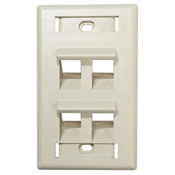 HellermannTyton FP45QUAD-FW Faceplate, 4-Port Angled Office White