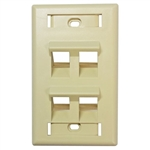 HellermannTyton FP45QUAD-I Faceplate, 4-Port Angled Office Ivory