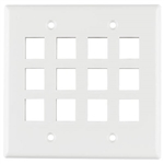 HellermannTyton FPDG12-W Faceplate Dual Gang 12 Port Flush Mount White