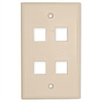 Unicom MIOP1-MPU04S-IV Keystone Faceplate 4 Port Single Gang Ivory