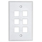 Unicom MIOP1-MPU06S-EW Keystone Faceplate 6 Port Single Gang Low Profile Electric White