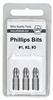 Wiha 71154 Screwdriver Bits, Phillips #1, 2, & 3 X 25mm 3 Bit Pack