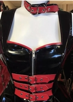 Misfitz black & red gloss pvc buckle choker