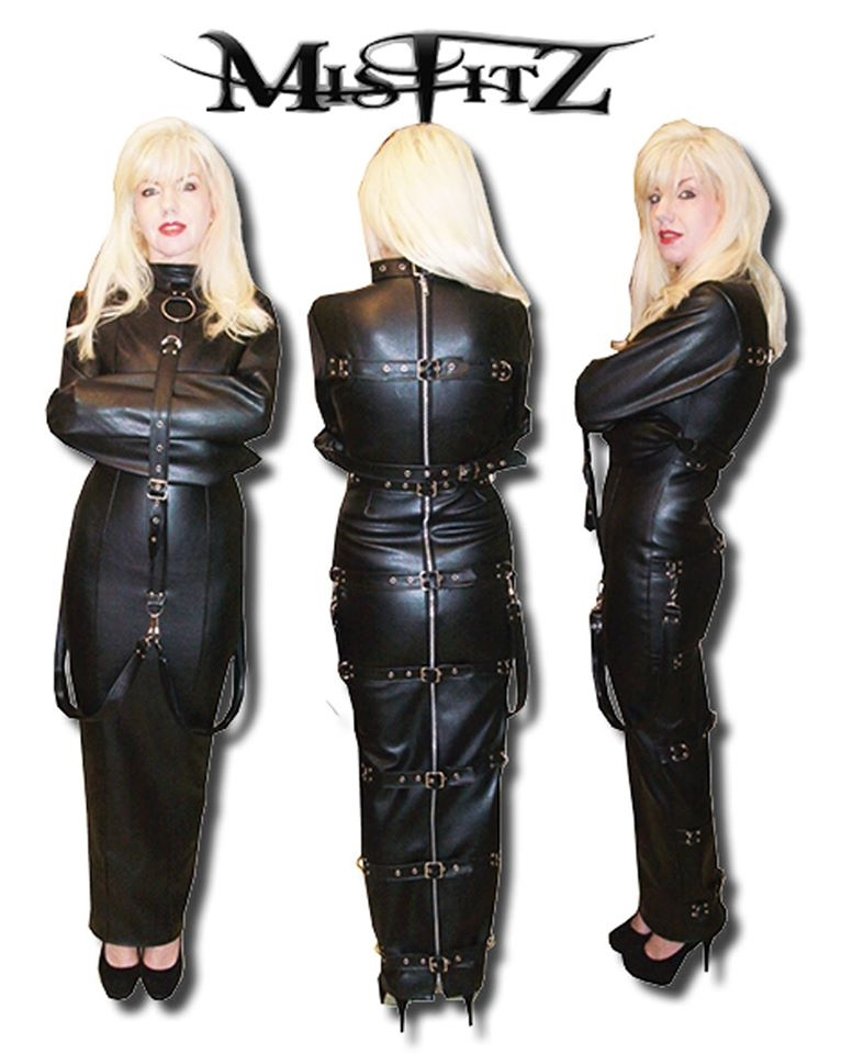 LEATHER LOOK HOBBLE STRAIT JACKET DRESS